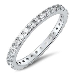 Jewelry - Sterling Silver 925 Eternity Band Ring with CZ